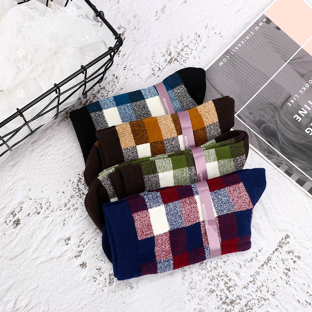 1Pair Fashion Cotton Men Socks British Style Classic Sock Novelty Socks With Print Plaid Men Fashion Meias Chaussette Homme