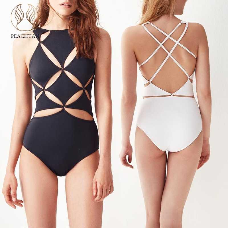 1442040664d20 Peachtan Hollow out bodysuit women Bandage swimsuit fused Sexy black plus  size swimwear Push up bathing