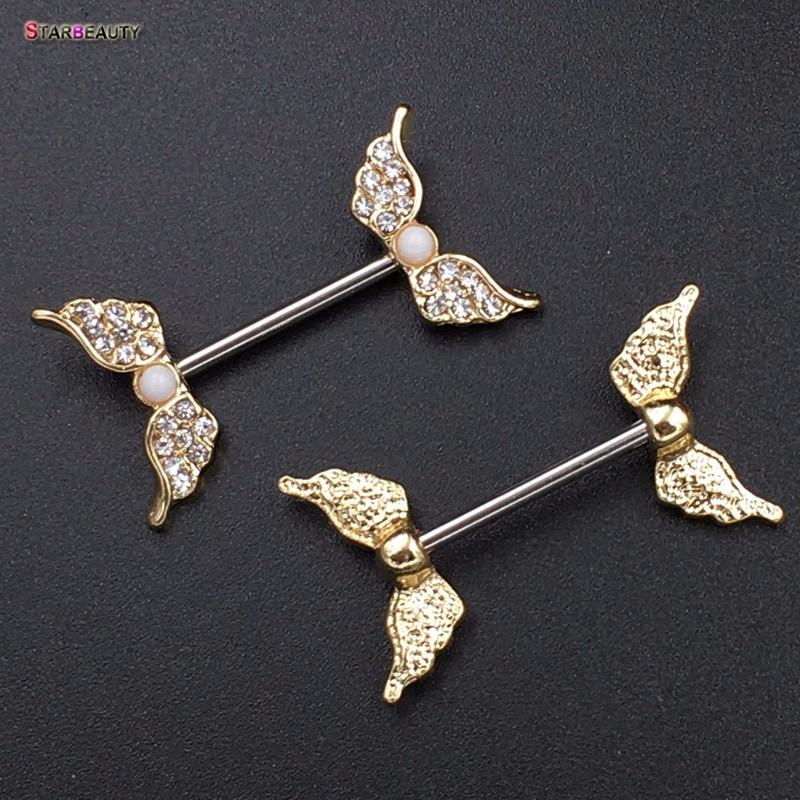 HTB1evNwPXXXXXbxXpXXq6xXFXXXl Starbeauty 2pcs/lot Angel Wing Nipple Piercing Mamilo Sexy Women Nipple Ring Body Jewelry Cute Fake Nipple Cover Pircing Gift