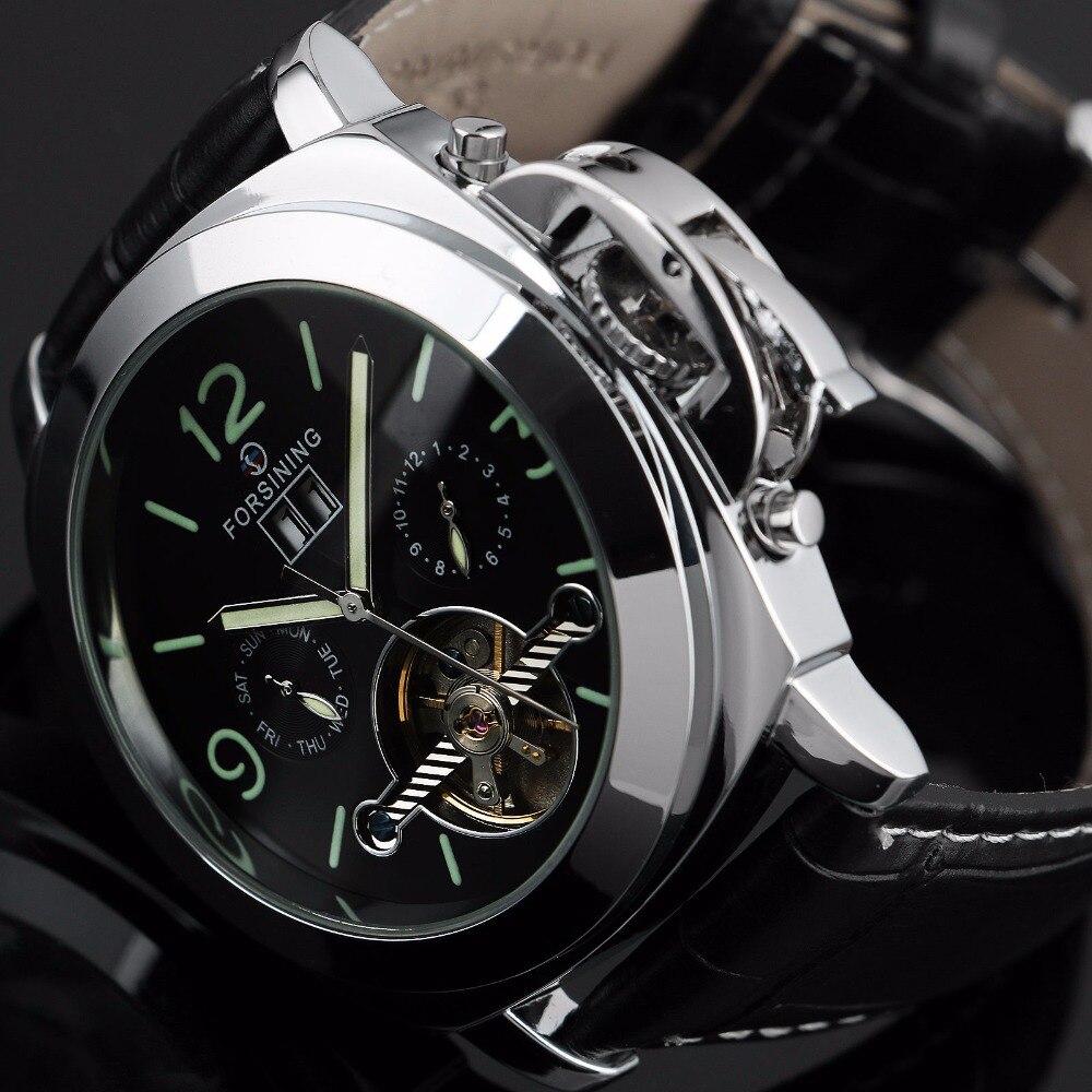 Reloj Tourbillon deportivo de acero inoxidable para hombre 2018 relojes Steampunk mecánico automático reloj Casual de plata para hombre nuevo