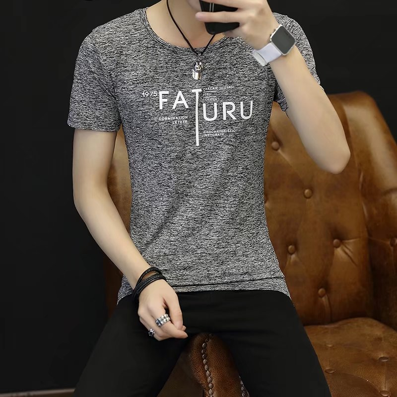 Spring 100% Cotton Casual Short Sleeve Rose Printing Men T Shirt O-neck Knitted Comfortable Fabric Street Style Men T-shirt 41