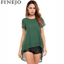 цены на FINEJO Women Batwing Chiffon Blouse Tops Shirt Short Sleeve Asymmetrical Hem Back Split Pleated Hollow Out With Lining Shirt  в интернет-магазинах
