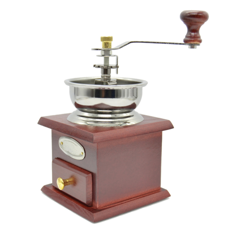 Manual Stainless Steel Coffee Grinder Mill Hand Crank Adjustable Wood Iron Antique Coffee Tool