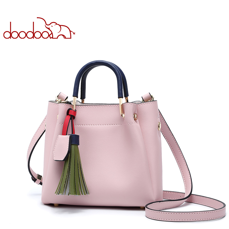 DOODOO Brand Women Handbag Tote Bag Female Shoulder Crossbody Bags Ladies Pu Leather Top-handle Tassel Small New Messenger Bags 2017 luxury winmax women handbag scrub pu leather shoulder bags female fashion beading top handle tote bags ladies messenger bag
