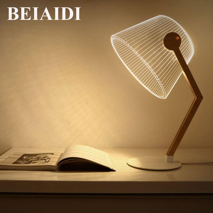 Dedicated Beiaidi Creatieve 3d Visuele Houten Tafel Lamp Usb Powered Slaapkamer Studie Reading Bureaulamp Retro Bureau Tafel Licht Voor Baby Kids Een Plus Een Gratis
