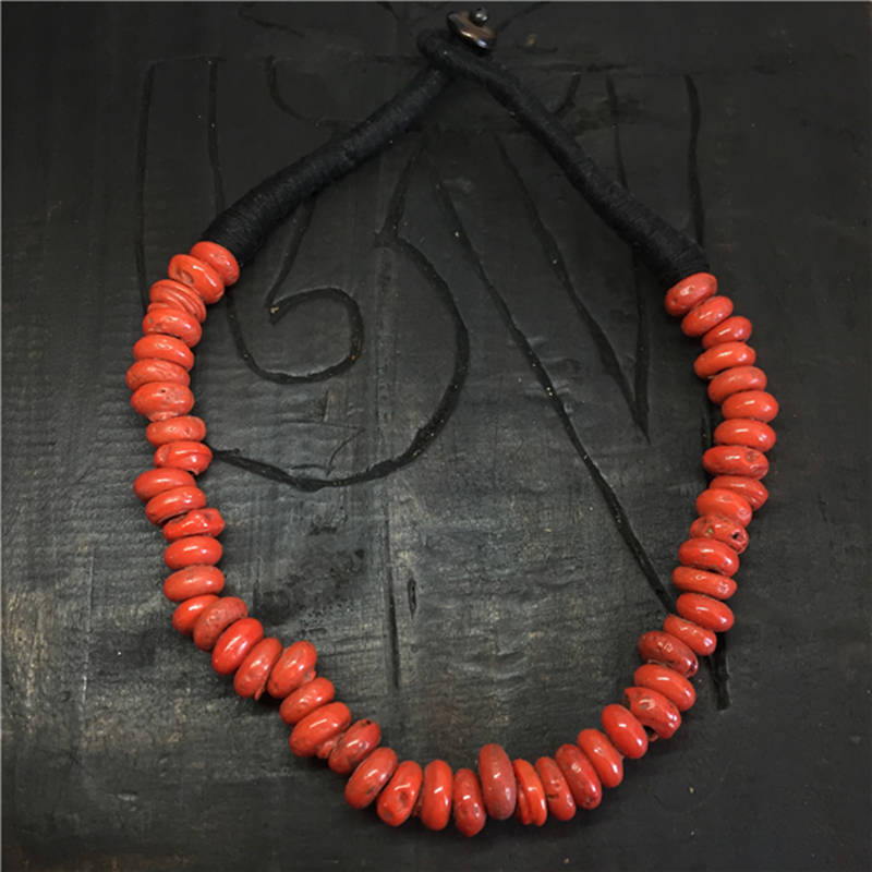 TNL327 Nepal Sherpa Lampwork Beads Necklace Antiqued Glass Trade Beads Tibetan Necklace