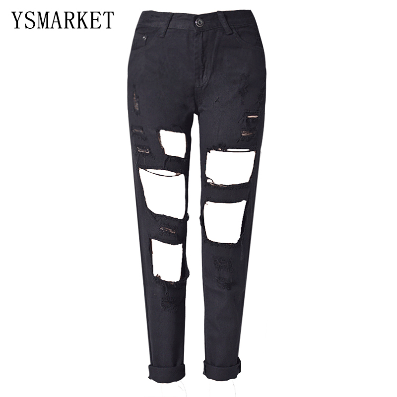 Punk Rock Boyfriend Hole Ripped Jeans Women Pants Black Denim Vintage Straight Jeans For Girls Mid Waist Slim Casual Pants E1119 boyfriend jeans for women real mid 2016 new summer jeans wholesale korean slim hole denim shorts female curling straight pants