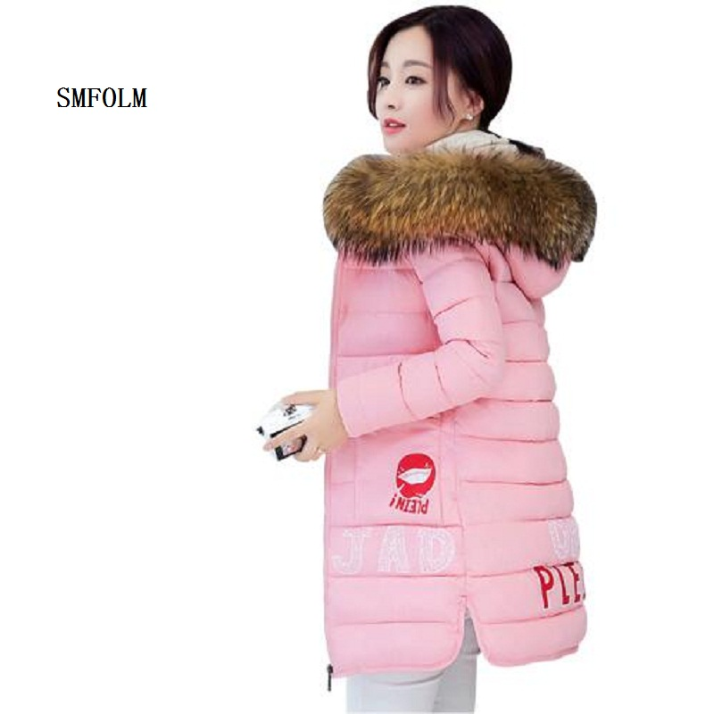 ФОТО SMFOLM 2017 Fashion Female Jacket Printing Letters Winter  Womens Hooded Fur Collar Long Warm Pink Slim Parkas Jackets