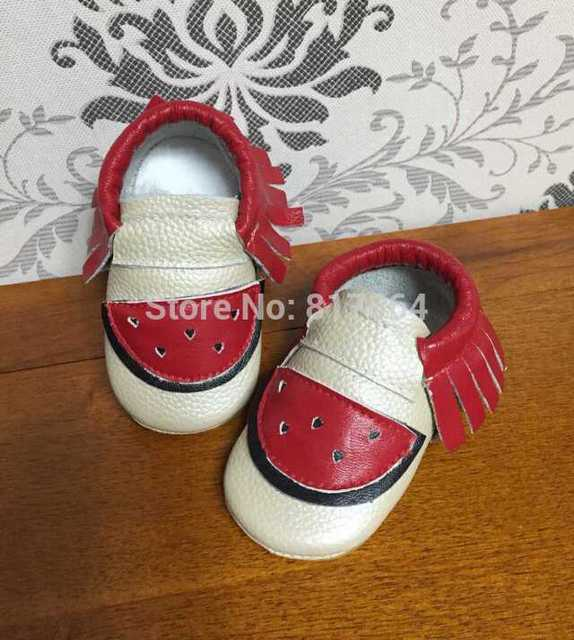 WOW nueva sandía franja bebé mocasines de cuero genuino zapatos de suela suave prewalker niños pequeños/bebés mocasín borla de cuero de vaca moccs