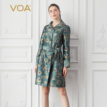Outerwear Trench-Coat Long-Sleeve F307 Vintage Rococo Belt Windbreaker Jacquard Floral
