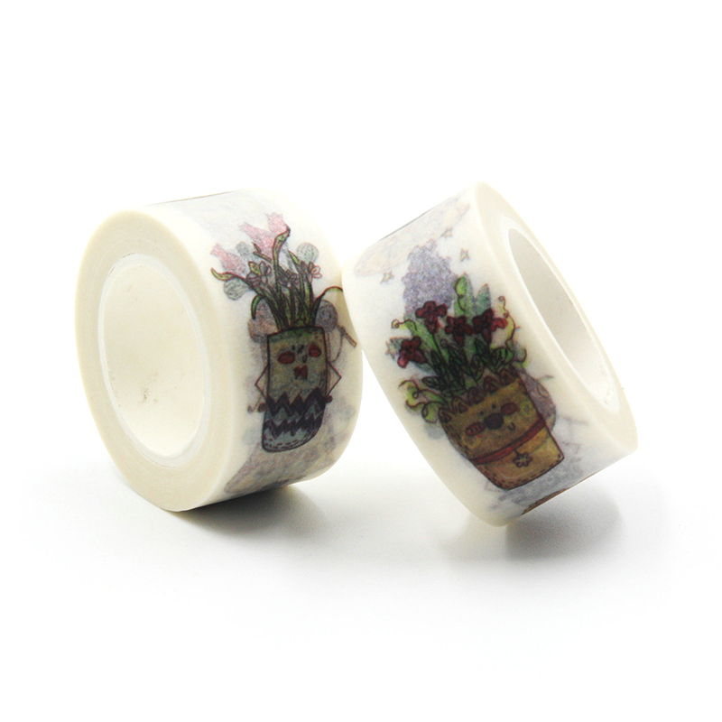 1 PCS 20mmx10m High Quality Potted Plants Pattern Japanese Washi Decorative Adhesive Tape DIY Masking Paper Tape