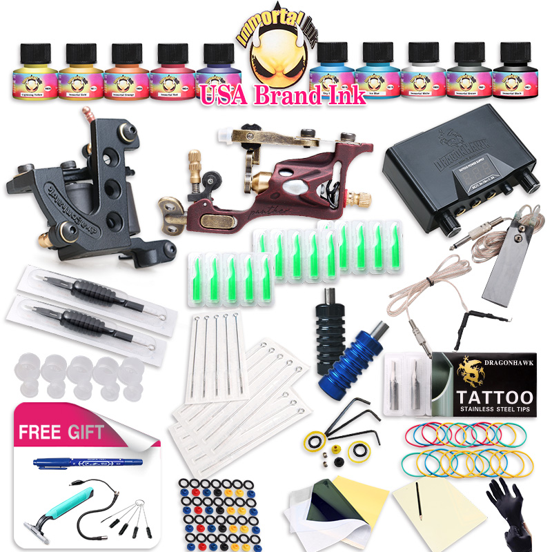 Top Free Ship Complete Tattoo Kit Rotary Tattoo Machine  Coils Machine Hot Sales Dragonhawk Power Supply 10 Colors USA Ink Set 2017 hot sale high quality lcd display black tattoo power supply for permanent makeup tattoo kit free ship by epacket