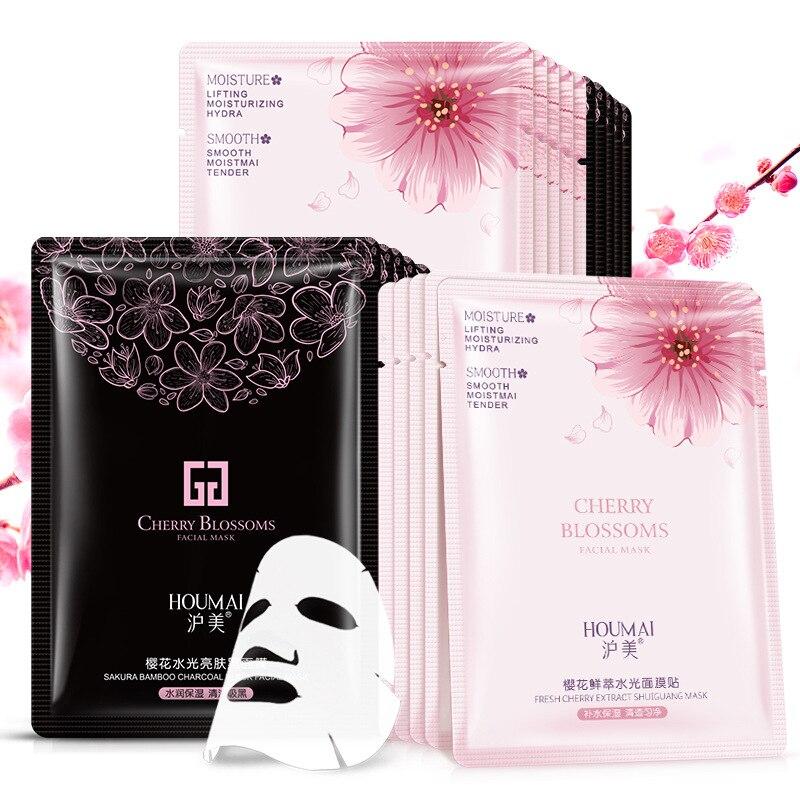 10 Pcs/lot BIOAQUA Face Mask Silk Moisturizing Whitening Oil-control Black Mask Facial Sheet Wrapped Mask Korean Skin Face Care