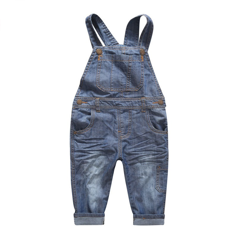 2016 Hot Sales Fashion Boys Girls Autumn Solid Denim Jumpsuits Kids Hemming Overalls Children Jeans Pants Free shipping