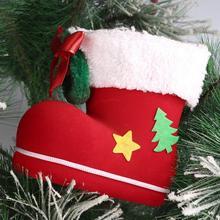 Christmas Supplies Plastic Flocking Boots Shape Design Candy Bag Kids Xmas Gifts Bag Tree Ornament Decoration -k