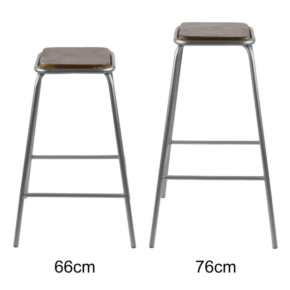 2pcs Comfortable Stackable Bar Stool Seat 66cm/76cm Height Dining Chair Home Breakfast Kitchen Bistro Cafe Chair Decor Furniture bar stool breakfast kitchen bistro cafe vintage wood dining chairs modern bar chair dropshipping