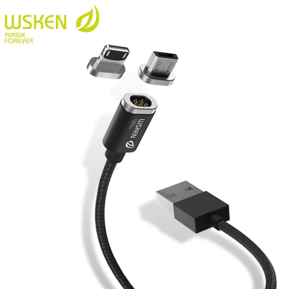 WSKEN 2 In 1 USB Magnetic Cable For iPhone 7 8 X Cable Magnetic Charger Fast