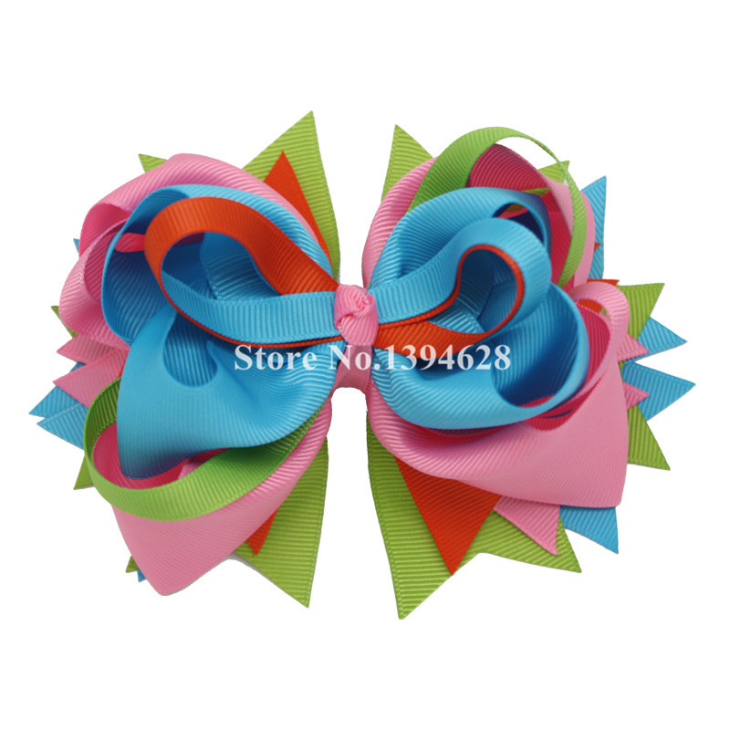 $1.99/1PC 5.5 Pink Turquoise Tuxedo Boutique Stacked Baby Bows With 6cm Hair Clips Grosgrain Ribbon Bows Hair Accessories