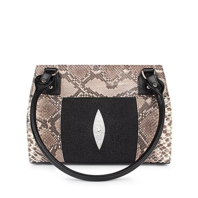 Sac à main femme en cuir Python véritable fermeture à glissière sac à main femme peau de Stingray sac à bandoulière femme sac à main Portable
