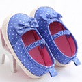 ROMIRUS 2017 Blue Polka Dot Baby Shoes Girls Soft Toddler Shoes Indoos First Walkers Prewalkers Shoe