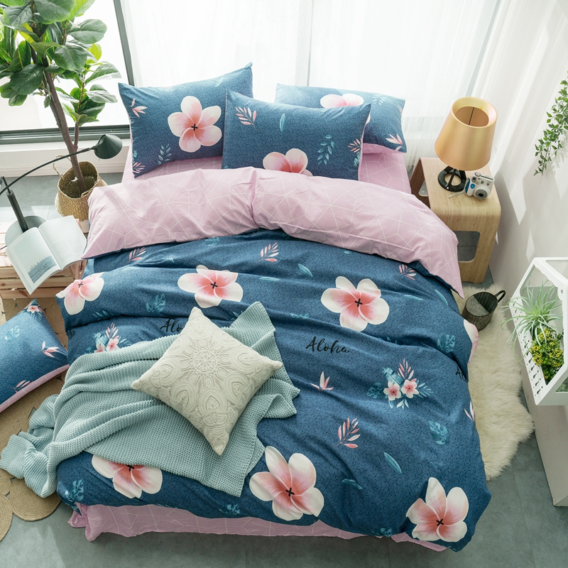 Blue comforter cover B side Pink and flat sheet pink color flower leaf style womens beautiful bedding quilt pillow covers