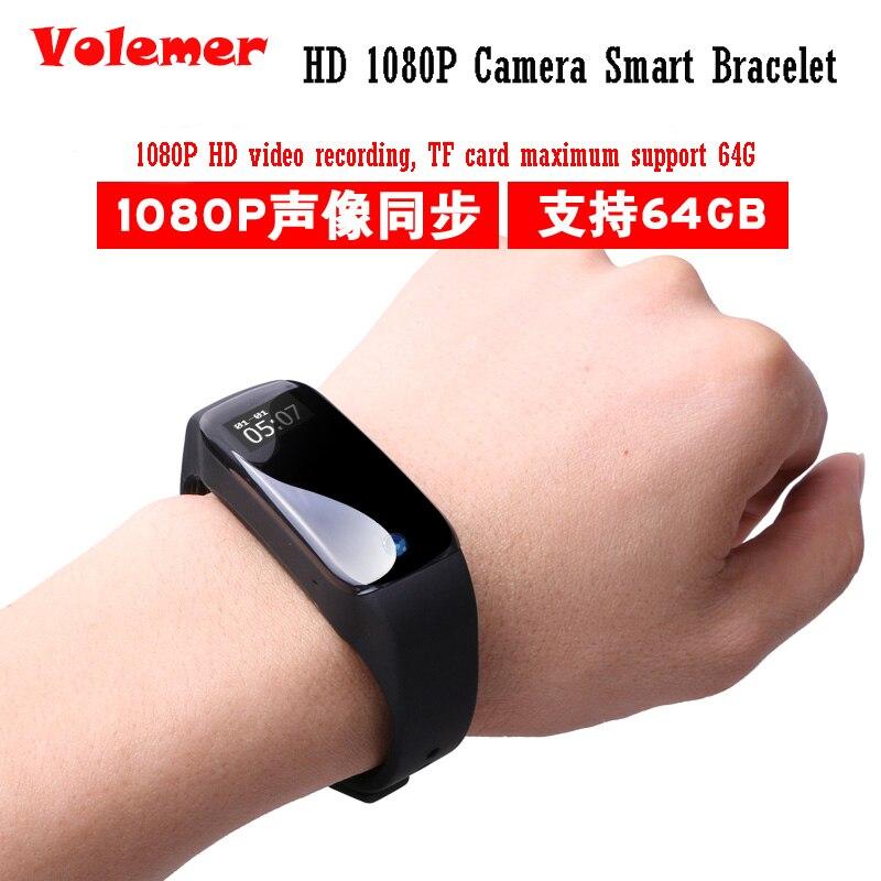 Volemer Smart Bracelet Wristband HD 1080P mini camera lens Watch Sport Camera Watch Voice Recorder Suppot 64G TF Card PK K18