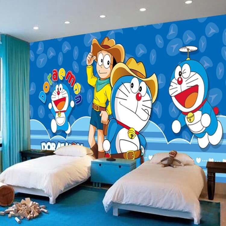 Custom Photo Green Wallpaper Children Room Boy Princess Room Doraemon Wallpaper Blue Theme Room Animation Machine Cat