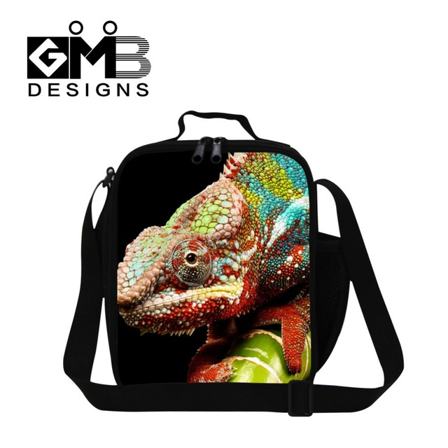 chameleon 3D Printed thermal lunch box bag for children school,boys cool lunch container,stylish bluey work lunch bag for adult