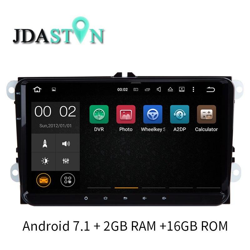 JDASTON 9 Inch 2GB ANDROID 7.1 Car DVD Player GPS Radio For Skoda VW Passat B6 Polo Golf Touran T5 Jetta Caddy Tiguan Bora Seat mydean 3004 2vw для vw golf jetta passat tiguan touran amarok transporter t5 caravelle t5