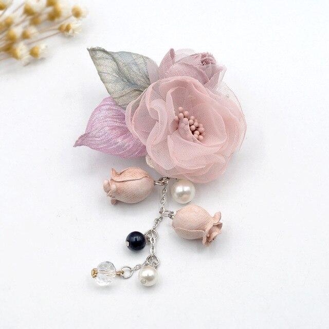 I-Remiel корейский шелк кисточкой ткань цветок нагрудный знак брошь значок шаль Пряжка Женская ткань искусство сладкий рубашка воротник аксессуары