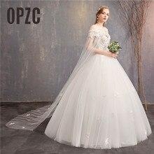 Moda zarif güzel balo tekne boyun kapalı omuz düğün elbisesi 2020 florwer gelin evlilik gerçek fotoğraf şal 2