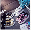 spring/summer Casual Shoes Woman glossy flat Shoes Woman Fashion Shoes Flat Platform Student Shoes 4 color