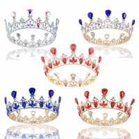 2.6 ''de lujo Rhinestone de La Perla de La Corona de Cristal venda de La Flor Tiara Nupcial de la Boda Del Desfile de Prom headwear joyería pelo de la novia