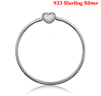 Top Quality Pave Love Heart With Crystal Clasp Bangle Bracelet Fit Women Bead Charm 925 Sterling