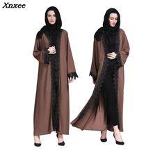 On sale New Muslim abaya islamic women Long sleeve lace long Dress indonesia moroccan open moslem kaftan maxi Cardigan dress