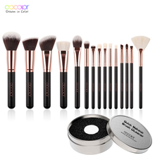 Docolor 15 PCS Makeup Brushes Set Soft Synthetic Goat Hair Make Up Brushes Powder Contour Eyeshadow Eyebrow Brush Wood Handle