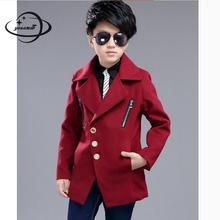 YAUAMDB kids wool coat 2017 winter autumn 6-14Y boys zipper outerwear cotton children turn-down collar clothes long clothing y40
