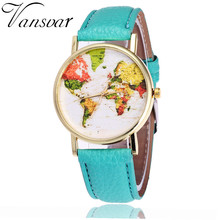 Vansvar Moda Colorful World Map Assista Casual Mulheres Vestido Relógio de Pulso Feminino PU Couro Quarzt Relógios Relogio feminino V20
