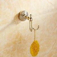European Bathroom Golden Coat Hooks Gold Polished Brass Robe Hook Behind Door Hanging 2 Rods Wall Mounted Bathroom Product