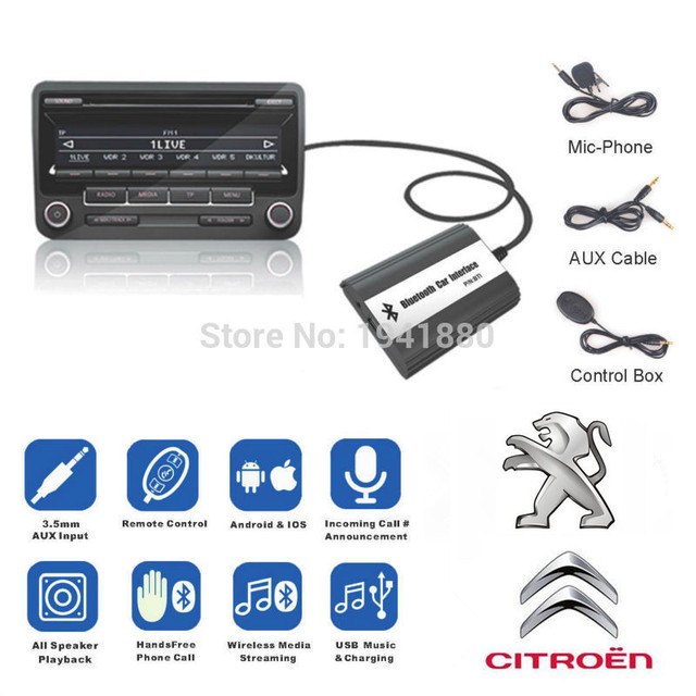 US $68 0 |DOXINGYE,USB AUX Bluetooth Car Digital Music Cd Changer Adapter  Car MP3 Player For RD4 Peugeot CITROEN 12PIN Interface-in Car MP3 Players