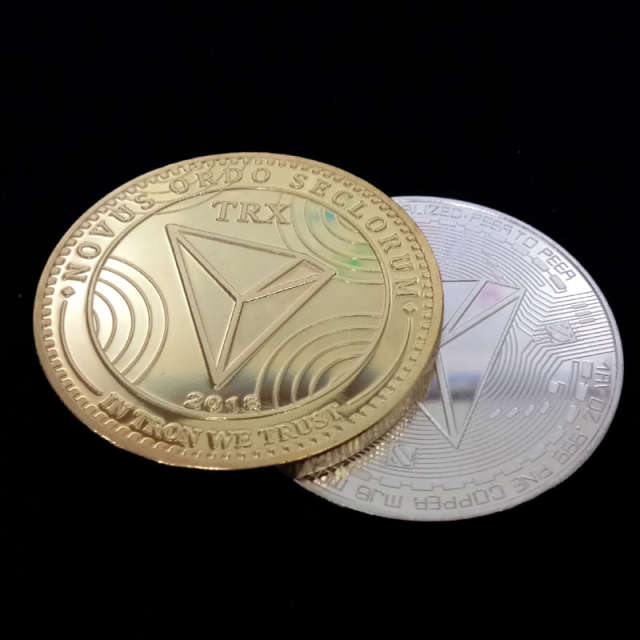 New TRX Wave Field Tron Virtual Digital Non-currency Coin Commemorative  Coins Collector Coin Drop/Free Shipping