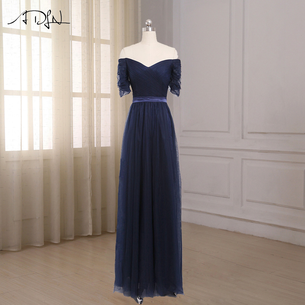ADLN Cheap Off The Shoulder Bridesmaid Dresses Short Sleeves Floor Length Tulle Robe Demoiselle D honneur