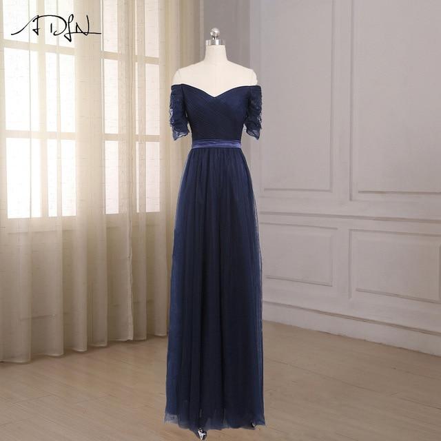 Adln Off The Shoulder Bridesmaid Dresses Short Sleeves Floor Length Tulle Robe Demoie D