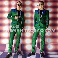 2019 новый модный мужской диджей певица индивидуальность красочный зеленый костюм мужской модный костюм певица костюмы