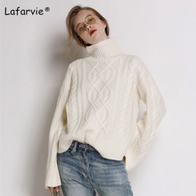 Lafarvie Cashmere Blended Turtleneck Knitted Sweater Women Autumn Winter Thick Pullover Female Casual Loose Warm