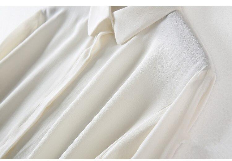 Natural De Mujeres Manga Blusas Camisas Trabajo Para Blanca Sólido Seda Color Oficina 100 Blusa Real Larga wB5Rtn