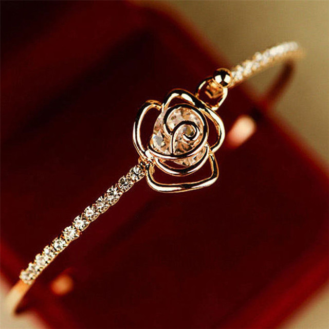 Stylish Jewelry bracelet femme manchette Elegant Women's Crystal Rose Flower Bangle stainless steel Cuff Bracelet Gold pulsera #
