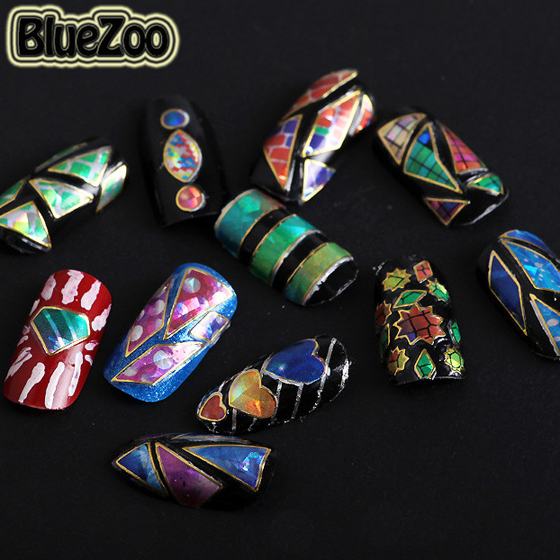 BlueZoo 24pcs/ pack Mix Designs Irregular Broken Glass Shell Adhesive 3D Nail Stickers Manicure DIY Colorful Aurora Nail Decals