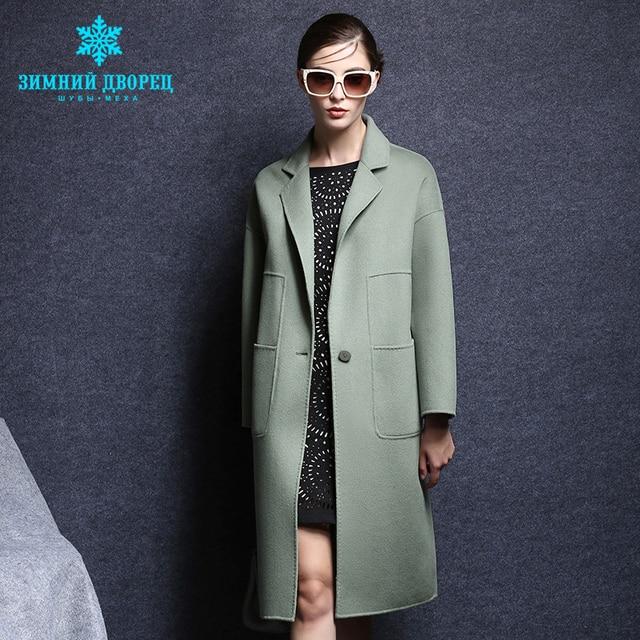 ЗИМНИЙ ДВОРЕЦ весной и осенью женская мода кашемировые пальто настоящее кашемир пальто с Отложным воротником тонкий Стиль шерстяное пальто