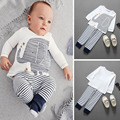 BS#S 0-36Month 2pcs New Fashion Baby Clothes Boys Elephant Print Top T-Shirt and Striped Long Pants Infant Outfit